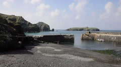 Mullion Cove harbour Lizard peninsula south Cornwall UK Stock Footage