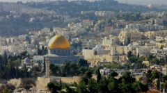 Dome of the Rock as viewed from the Mount of Olives Stock Footage