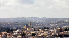 Old Jerusalem landscape from Mount of Olives at the winter Stock Footage