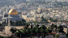 Dome of the Rock and Al-Aqsa Mosque  as viewed from Olives Mount - stock footage
