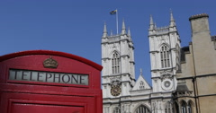 UHD 4K Westminster Abbey London Telecommunications Old Red Telephone Phonebox Stock Footage