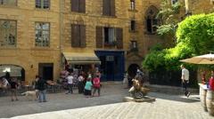 Place du Marche aux Oies or Goose Market Square - Sarlat la Caneda - France Stock Footage