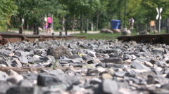 Severe heat waves and warped railway tracks on hot summer day Stock Footage