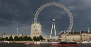 Stock Video Footage of UltraHD 4K Cruise Ship Passing British Landmark London Eye South Thames River