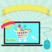 Stock Illustration of buy candies online through laptop