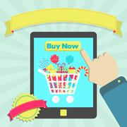 Stock Illustration of buy candies online through tablet