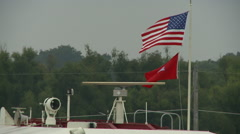 Flag on Mississippi River Boat 2 Stock Footage