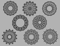 Circle vignette lace ornaments Stock Illustration