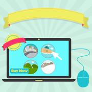 choosing the destination of the trip online - stock illustration