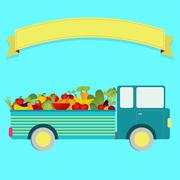 truck with harvest - stock illustration