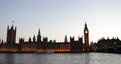 Ultra HD 4K Tour Boats Passing Dusk Light Westminster Palace London Parliament Stock Footage