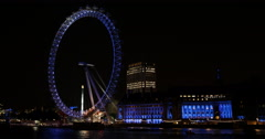 Ultra HD 4K Evening Lights British Landmark London Eye England Establishing Shot Stock Footage
