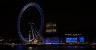 Stock Video Footage of Ultra HD 4K Evening Lights British Landmark London Eye England Establishing Shot