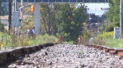 Severe heat waves and warped railway tracks on hot summer day - stock footage
