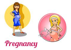 Twp colorful pregnancy icons Piirros