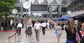 Ultra HD 4K Business Crowd People Walk Passing Lunch Break Canary Wharf London Footage