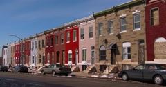 Tenements and abandoned houses are found in a North Baltimore slum. - stock footage