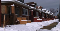 A line of row houses in winter near Chicago. Stock Footage