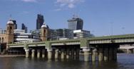 Stock Video Footage of UltraHD 4K Cannon Street Railway Bridge Corporate Under Development Crane London