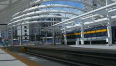 pan through Denver train station 4k - stock footage