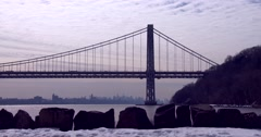 The George Washington Bridge connects New Jersey to New York state. Stock Footage