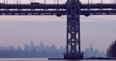 The George Washington Bridge connects New Jersey to New York state with the Stock Footage