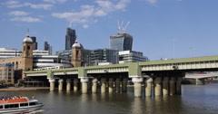 Ultra HD 4K Cruise Ship Passing Railway Bridge Thames River London Towers UK Stock Footage