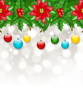 christmas background with balls, holly berry, pine and poinsettia - stock illustration