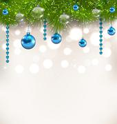 christmas shimmering background with fir twigs and glass balls - stock illustration