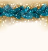 christmas shimmering background with fir twigs, copy space for your text - stock illustration
