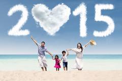 joyful family having fun in vacation - stock illustration
