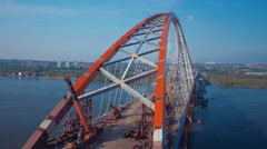 Stock Video Footage aerial view of the bridge over the river Ob Novosibirsk Stock Footage