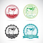 Set of vector an dairy cows label Stock Illustration