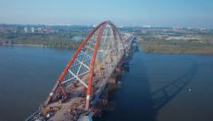Stock Video Footage aerial view new bridge over river Ob Novosibirsk - stock footage