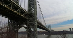 Wide shot of the George Washington Bridge connecting New York to new Jersey. Stock Footage