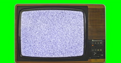 1970s TV set with interference. Green screen background 4K Stock Footage