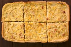German zwiebelkuchen or onion cake Stock Photos