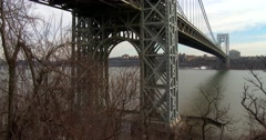 Tilt up reveals the George Washington Bridge connecting New York to new Jersey. Stock Footage