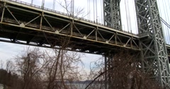 Pan across the George Washington Bridge connecting New York to new Jersey. Stock Footage