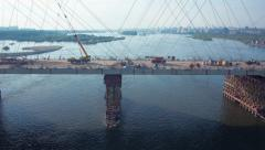 Stock Video Footage aerial view new bridge over river Ob Novosibirsk Stock Footage