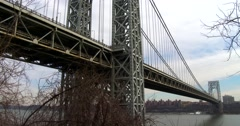 Wide angle of the George Washington Bridge connecting New York to new Jersey. Stock Footage
