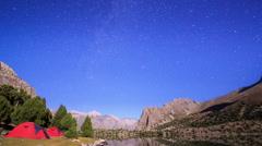 Mountain lake at night. Time Lapse. Pamir, Tajikistan Stock Footage