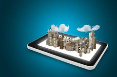 Tablet pc and 3d city Stock Illustration