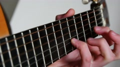 4k Strumming Playing Acoustic Guitar - stock footage