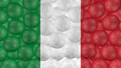 4K Soccer balls is falling down on a white and forming a italy flag - stock footage