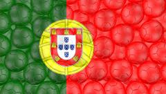 4K Soccer balls is falling down on a white and forming a portugal flag Stock Footage