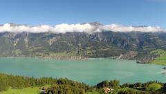 "Aerial Footage of lake ""Brienz"" in the Bernese oberland in Switzerland - stock footage"
