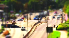Time lapse, tiltshift of cars at a cross roads. Stock Footage