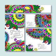 Stock Illustration of collection of decorative floral greeting cards