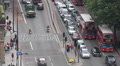Crowded Busy Street Traffic Jam Car Passing London City Rush Hour Aerial View UK Footage